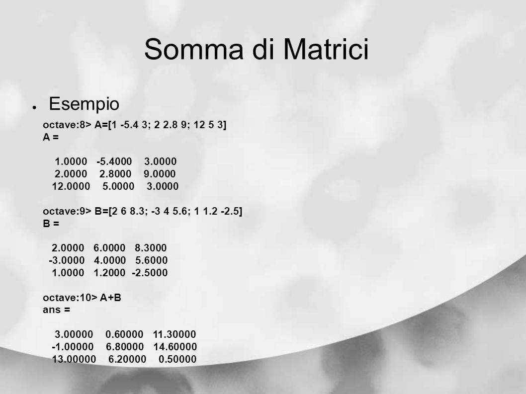 Somma di Matrici Esempio octave:8> A=[1 -5.4 3; 2 2.8 9; 12 5 3]
